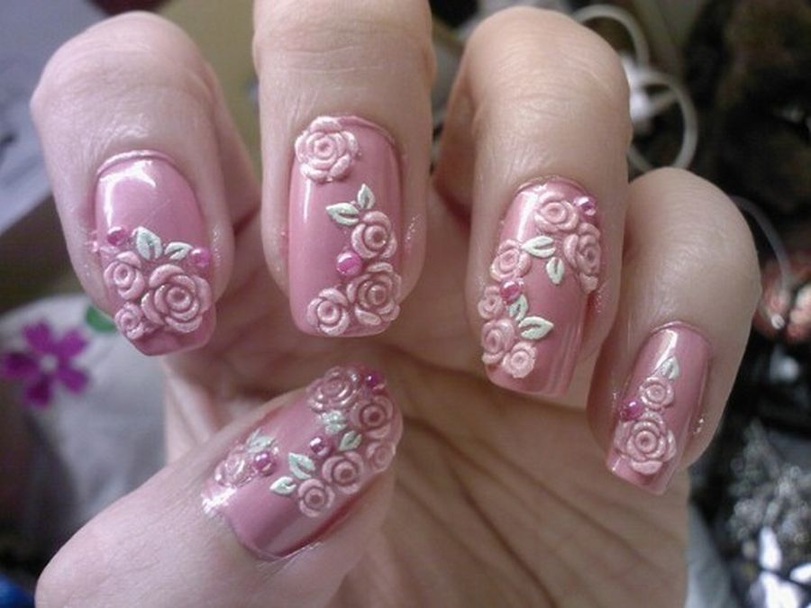 Awesome Easy Nail Art With Pink Flower Motif B E A U T Y Nail Art