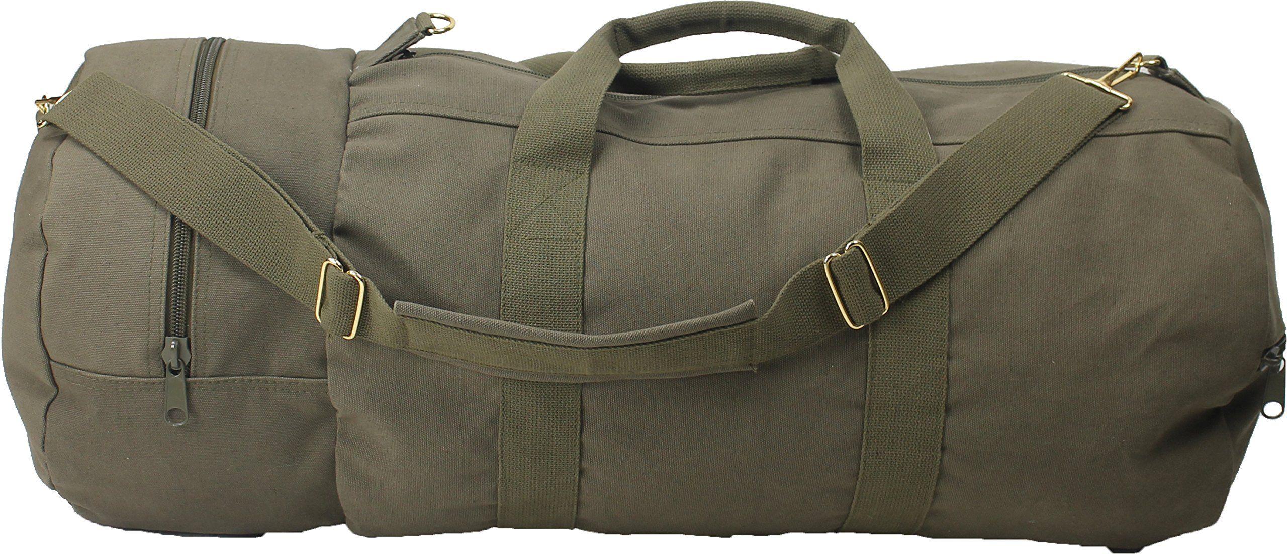 Cotton Canvas Large Shoulder Duffle Bag 395a3068b1f