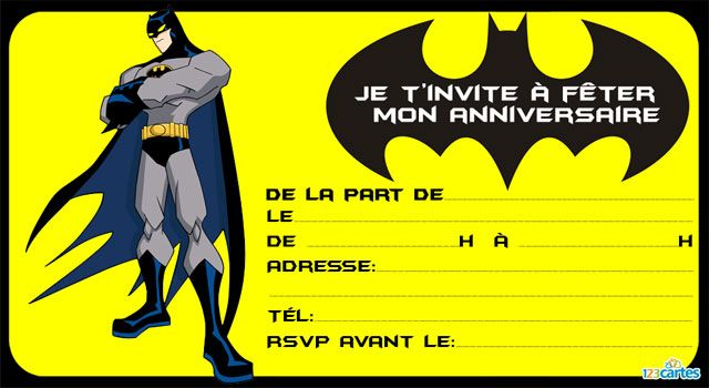 Invitation anniversaire je suis Batman | Invitation anniversaire, Carton invitation anniversaire ...