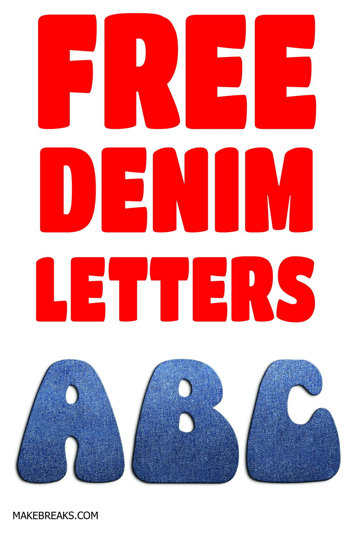 Free printable denim effect letters for bunting and crafts