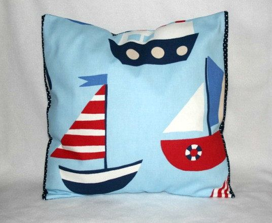 Nautical Cushion Cover, Ship Pillow, Sail Boat Nursery Bedding, Boat Theme Playroom, Baby Boy Bedding,  Playroom Cushion Cover, Kids Cushion on Etsy, $16.80