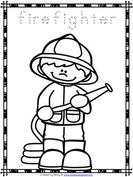 Free community helpers tracing and coloring pages for Community helpers coloring page