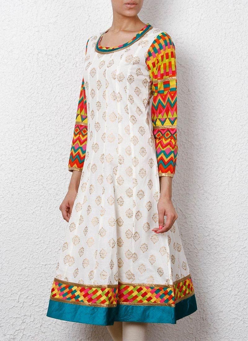 Fab off white cotton long kurti uc uc uc uc uc fashion pinterest