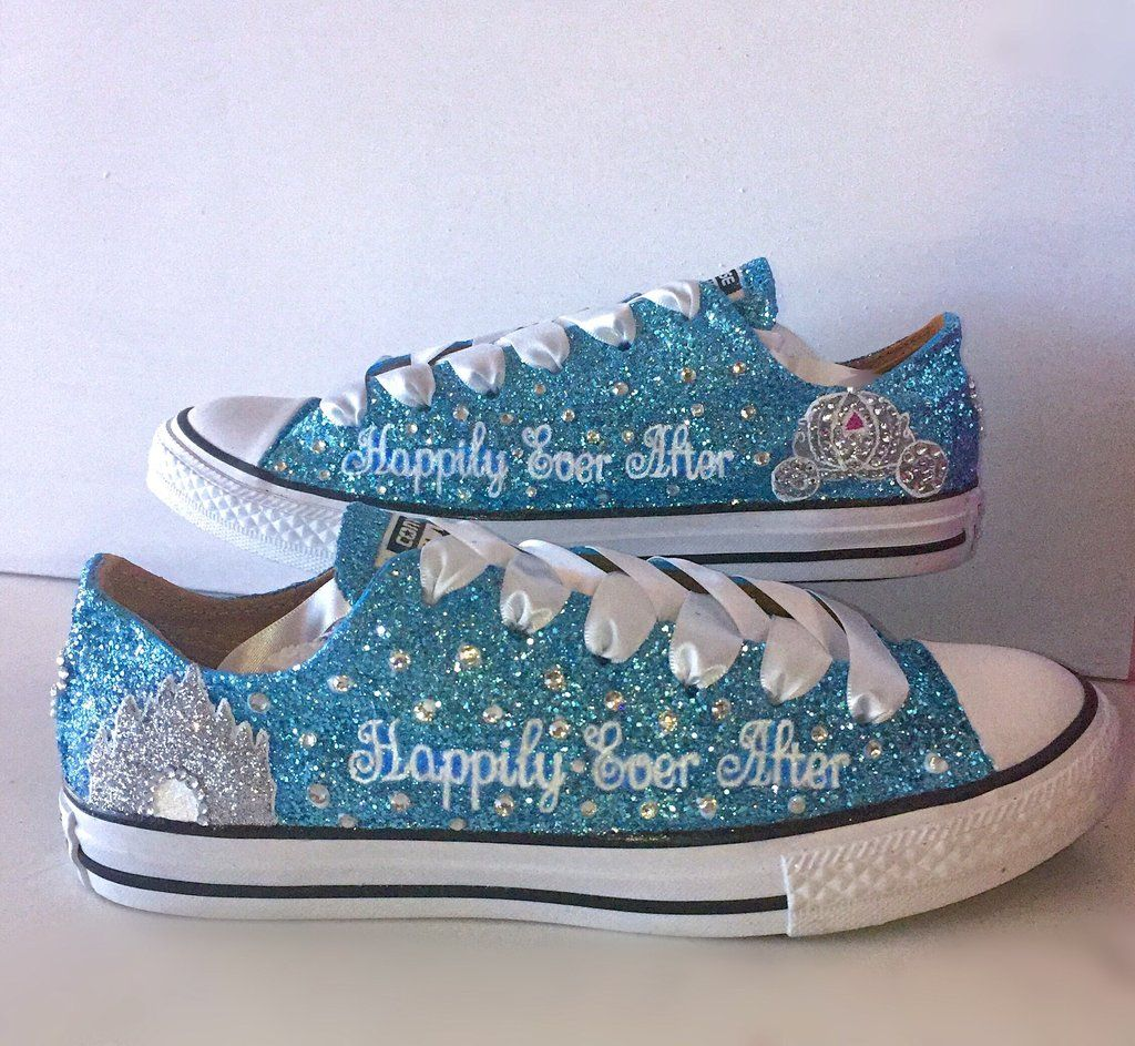 28c3051e3380 Womens Sparkly Glitter Bling Converse All Stars Baby Blue Cinderella wedding  bride shoes