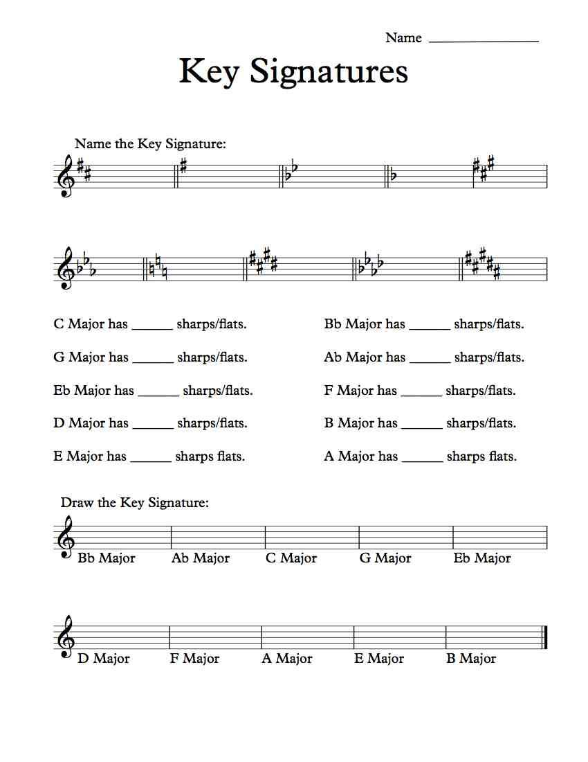 Key Signatures Worksheet - Khayav