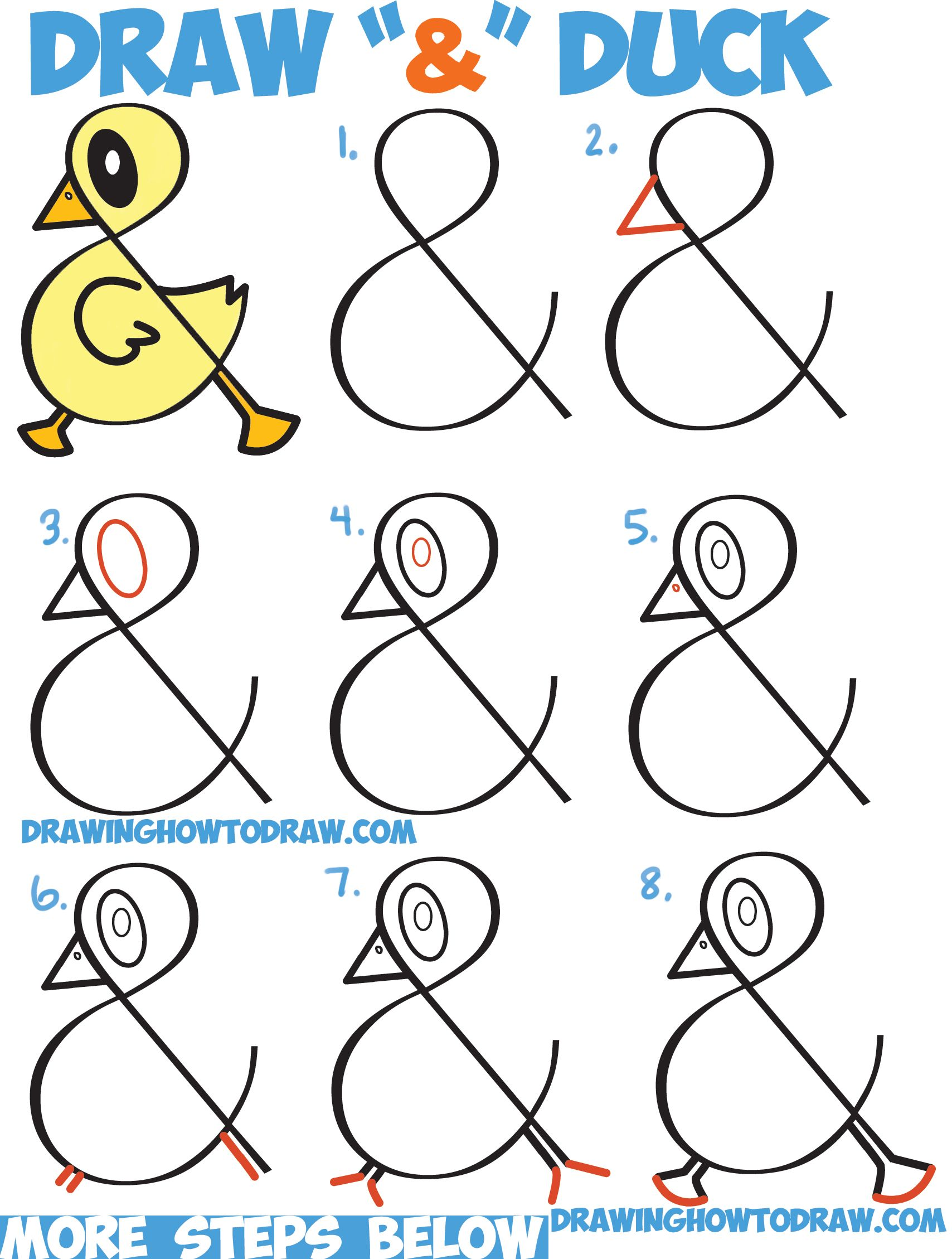 Scribble Drawing Tutorial : How to draw a cute cartoon duck from ampersand symbol