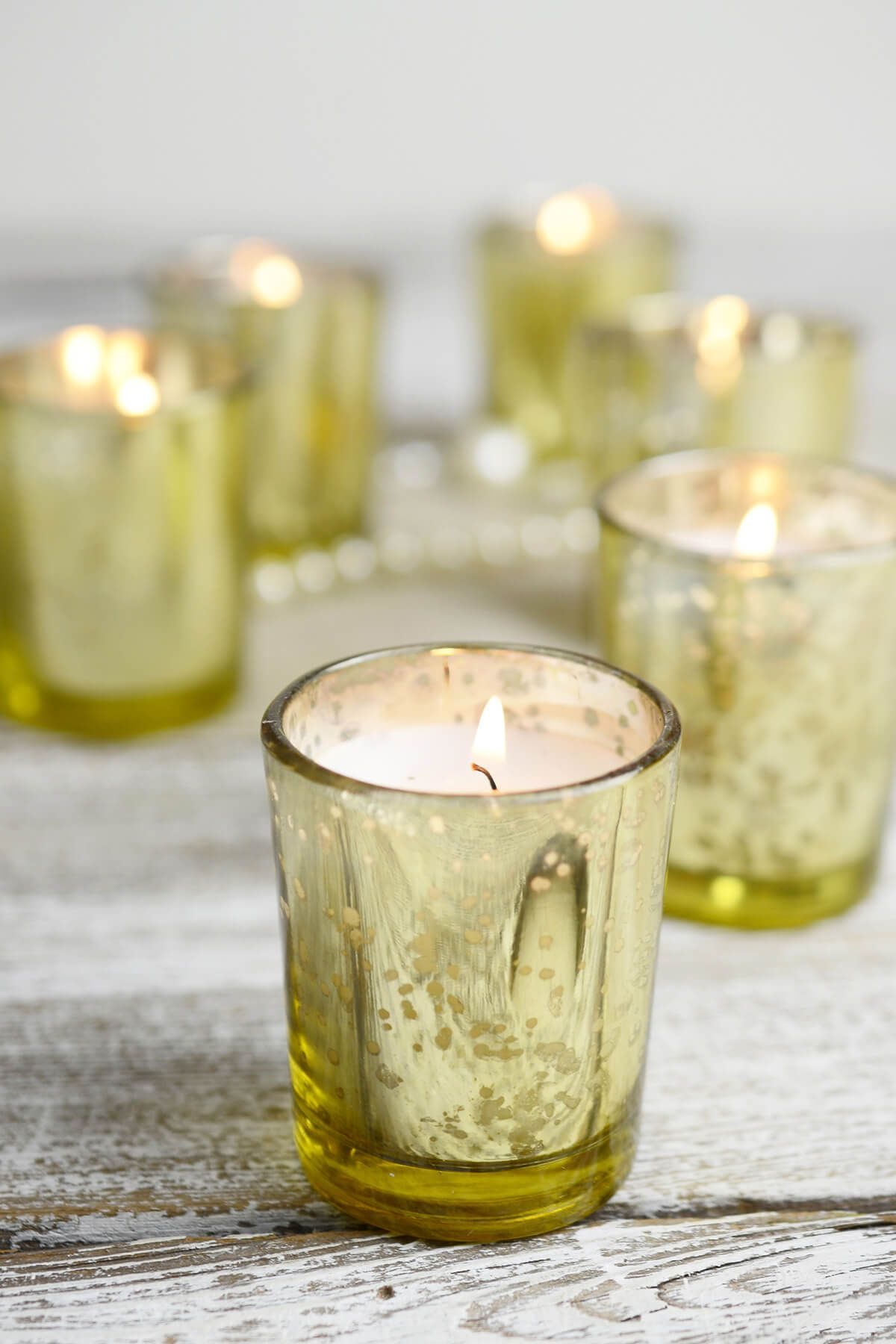 prefilled candles gold mercury glass votive holders wedding