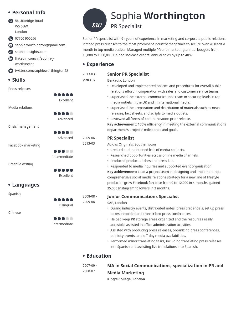 cv personal statement profile template initials in 2020