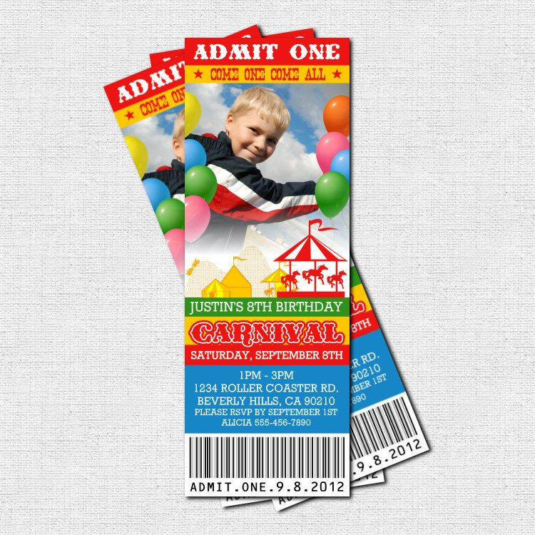 carnival birthday party invitations or RSVP cards inside of the – Carnival Ticket Birthday Invitations