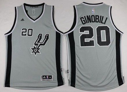715bd5cd992 Men's San Antonio Spurs #20 Manu Ginobili Revolution 30 Swingman 2015-16  Gray Jersey