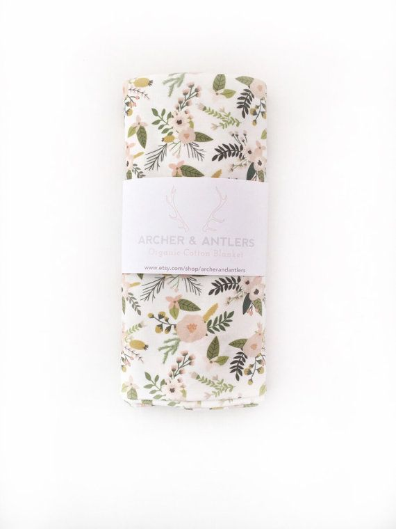 Organic cotton swaddle blanket sprigs and by ArcherandAntlers