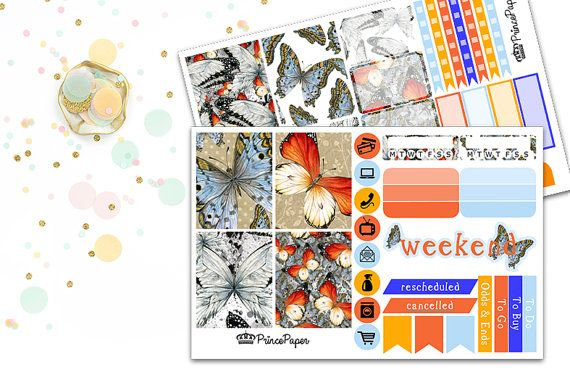 Planner Sticker Weekly Kit Butterfly for your Erin Condren Life Planner, Plum…