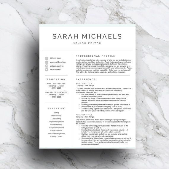 Professional Resume Template CV Template Resume Design for - two page resume template