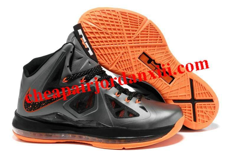 wholesale dealer a2598 e1803 Nike Lebron James X (10) Metallic Grey Black Orange Shoes