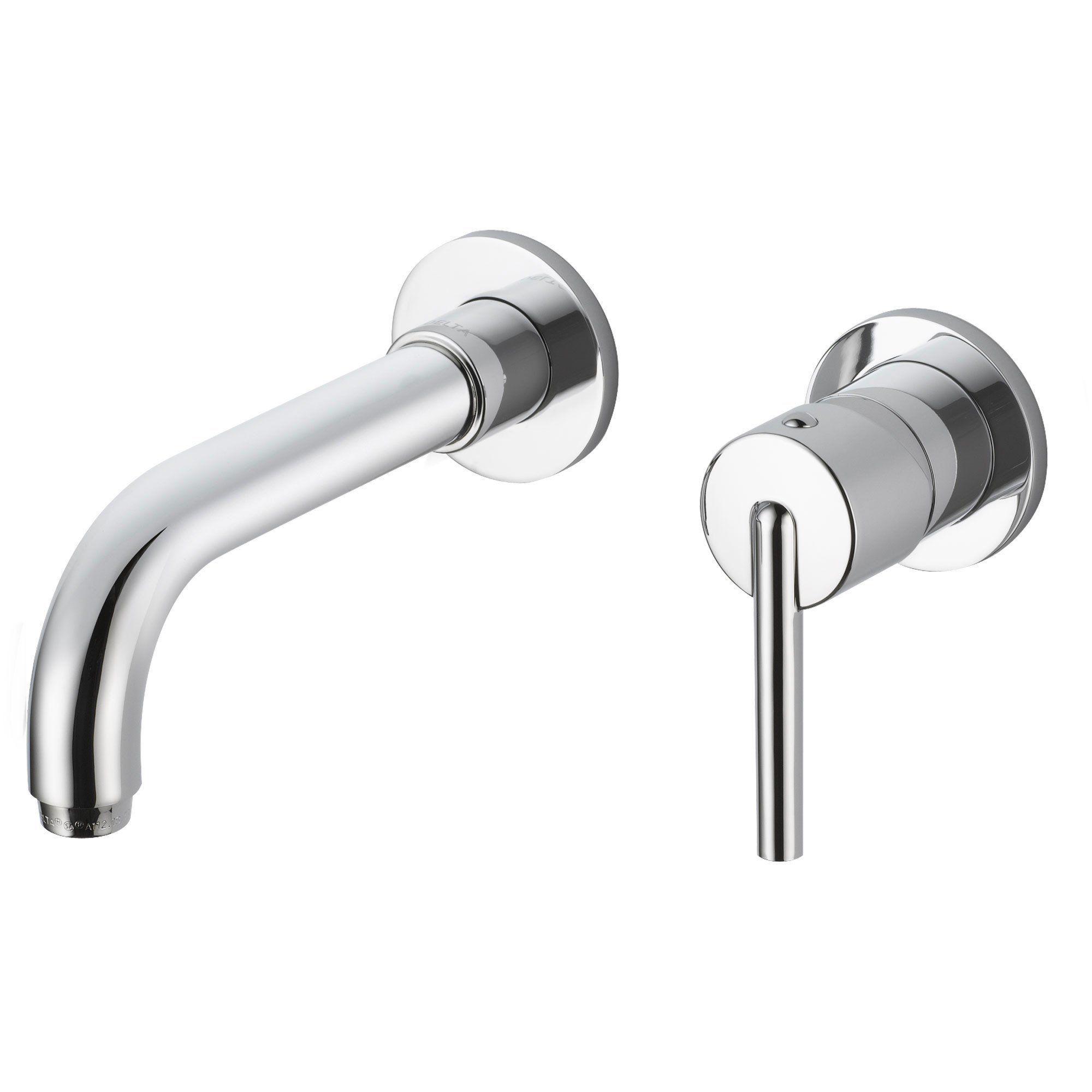 Delta Trinsic Wall Mount Single Handle Chrome Finish Bathroom Faucet ...