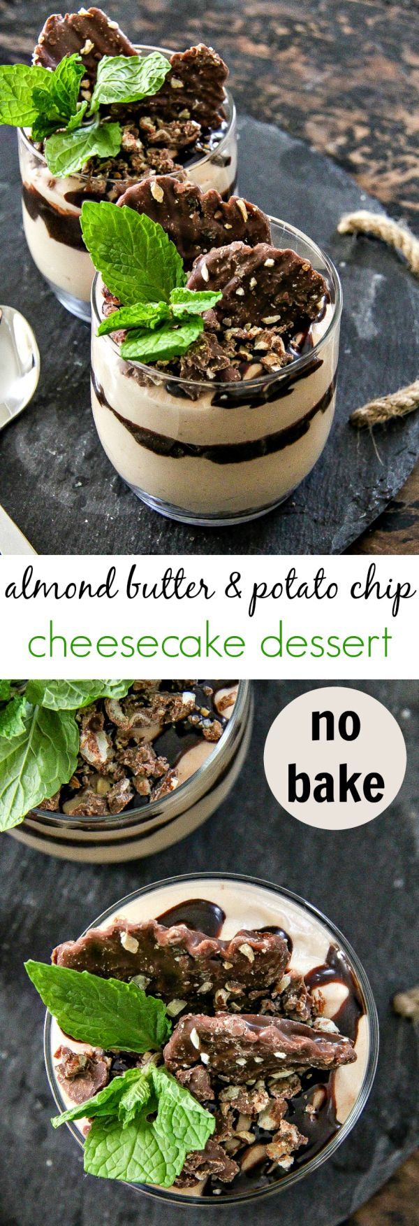 Make this almond butter and potato chip no bake cheesecake recipe. You won't be sorry. It's perfect for holiday entertaining. #SweetnSaltyHoliday #ad