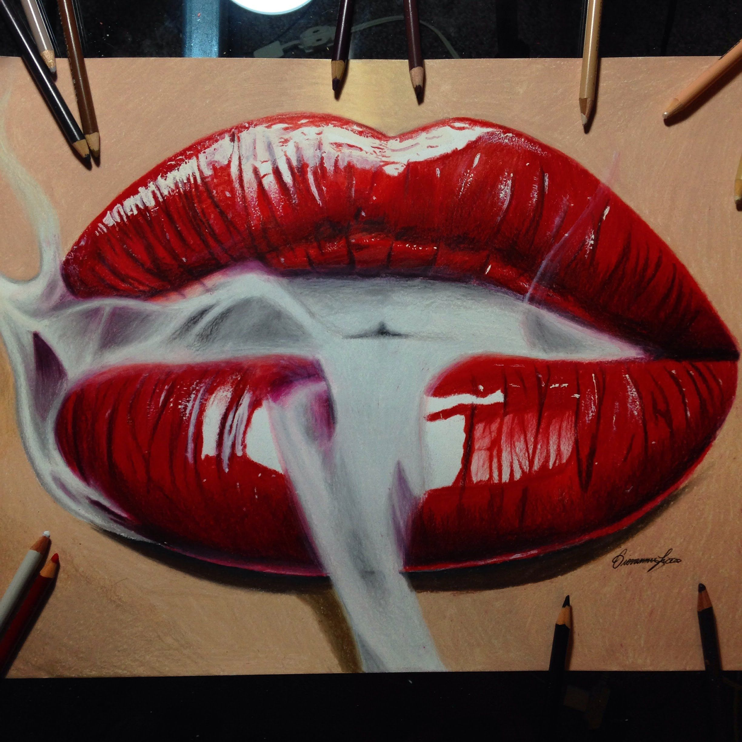 Realistic smoking red lips drawing timelapse