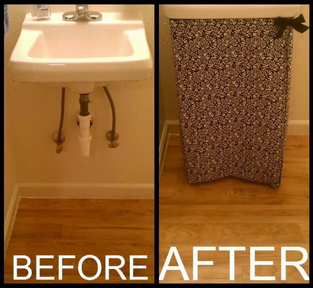 No Sew Sink Skirt I Used Fabric Velcro Fabric Glue And A Piece Of Ribbon Easy And Cheap Bathroom Sink Skirt Sink Skirt Under Bathroom Sinks