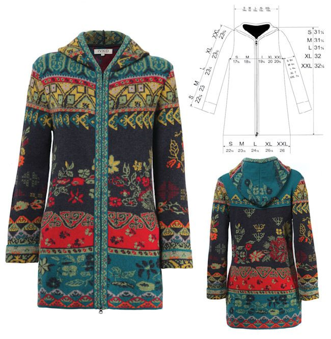 IVKO Woman Long Jacquard Woodland Jacket with Hood Style 62508 in ANTHRACITE  018
