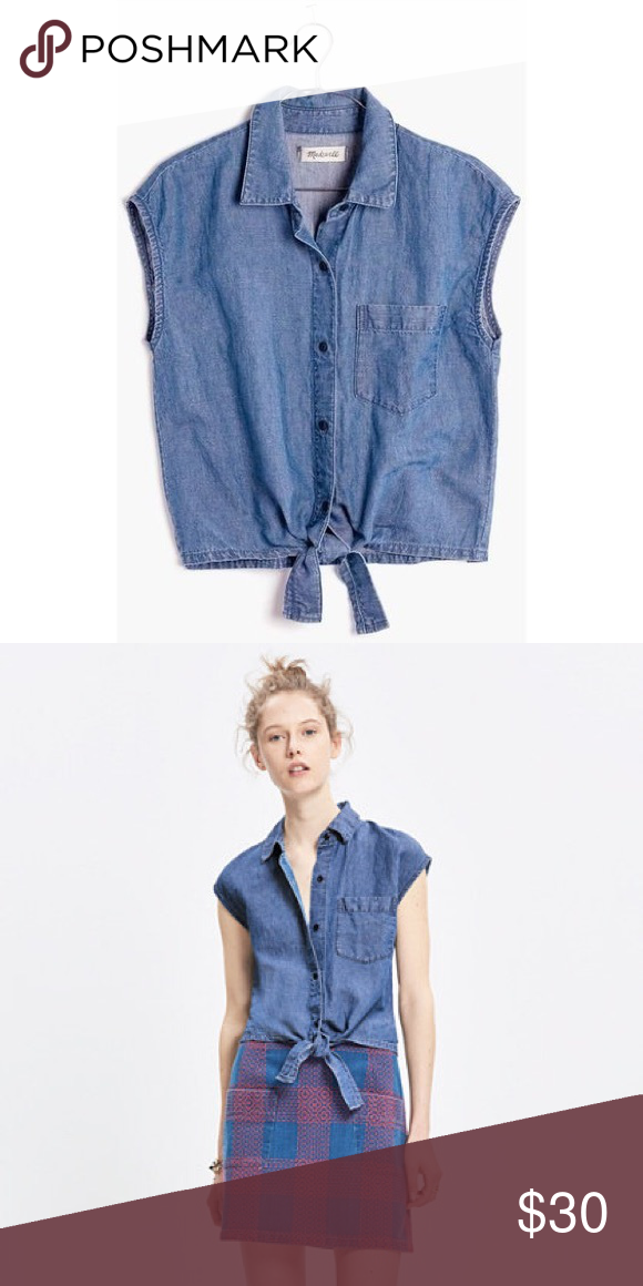 Madewell denim sleeveless tie-front top A sleeveless denim shirt with a flattering tie at the waist. So perfect with any and all high risers. Cropped fit, cotton, machine wash. One worn few times. Madewell Tops Crop Tops