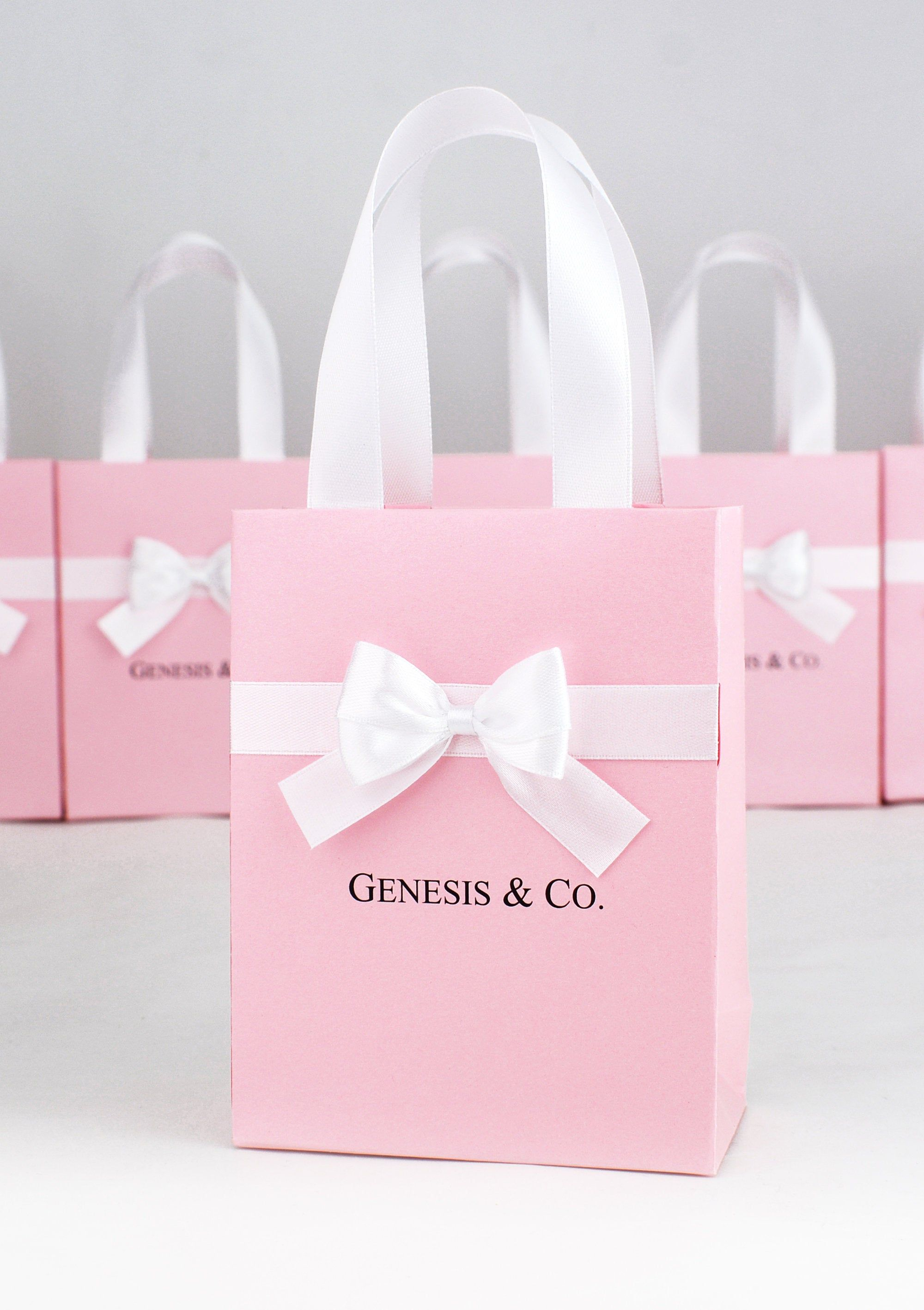 Baby & Co. gift bag with satin ribbon handles, bow and custom name, Elegant Baby Shower favor bags for guests, Breakfast at Tiffany party