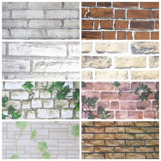 1m 3d wall brick paper stone rustic effect self adhesive on wall stickers for home id=21153