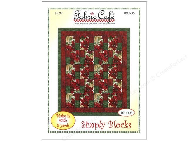 """Fabric Cafe Simply Blocks 3 Yard Quilt Pattern. The quilt's name says it all """"Simple Quilt"""". Each of the center panel's 15 blocks is made from only 3 pieces and then finally surrounded by 2 border. Pieced top uses only 1 yard cuts of 3 coordinating fabrics. Finished size 46 x 55 inch. Includes instructions and diagrams."""
