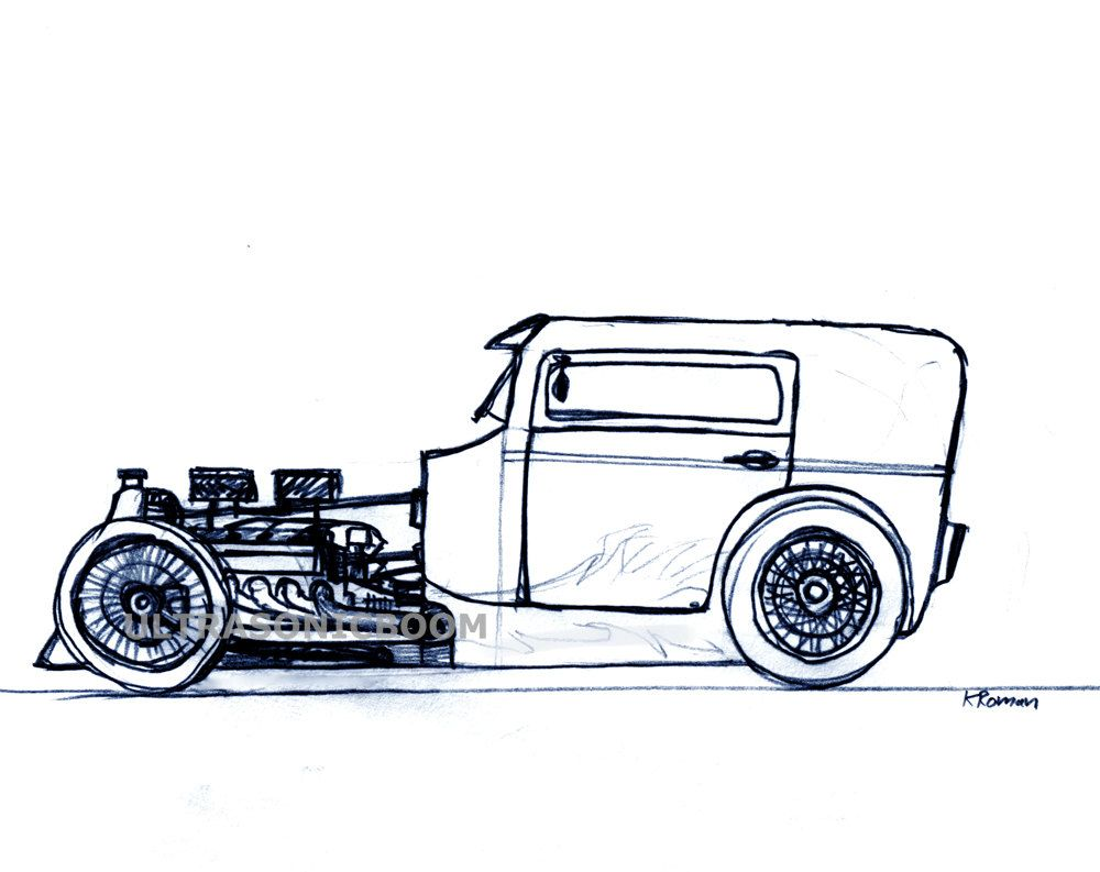 Classic Hot Rod Car Print Of My Original Pencil Sketch