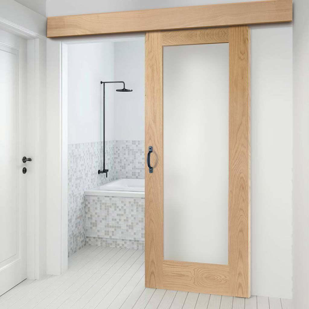 Single Sliding Door Wall Track Pattern 10 Oak Shaker 1 Pane Door Obscure Glass Prefinished In 2020 Sliding Doors Sliding Glass Door External Sliding Doors