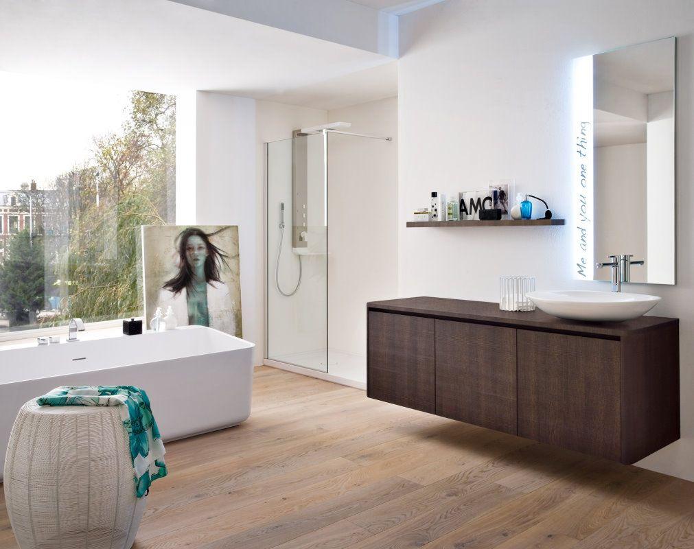 Dark wood bathroom cabinet. | Bathroom, Modern bathroom ...