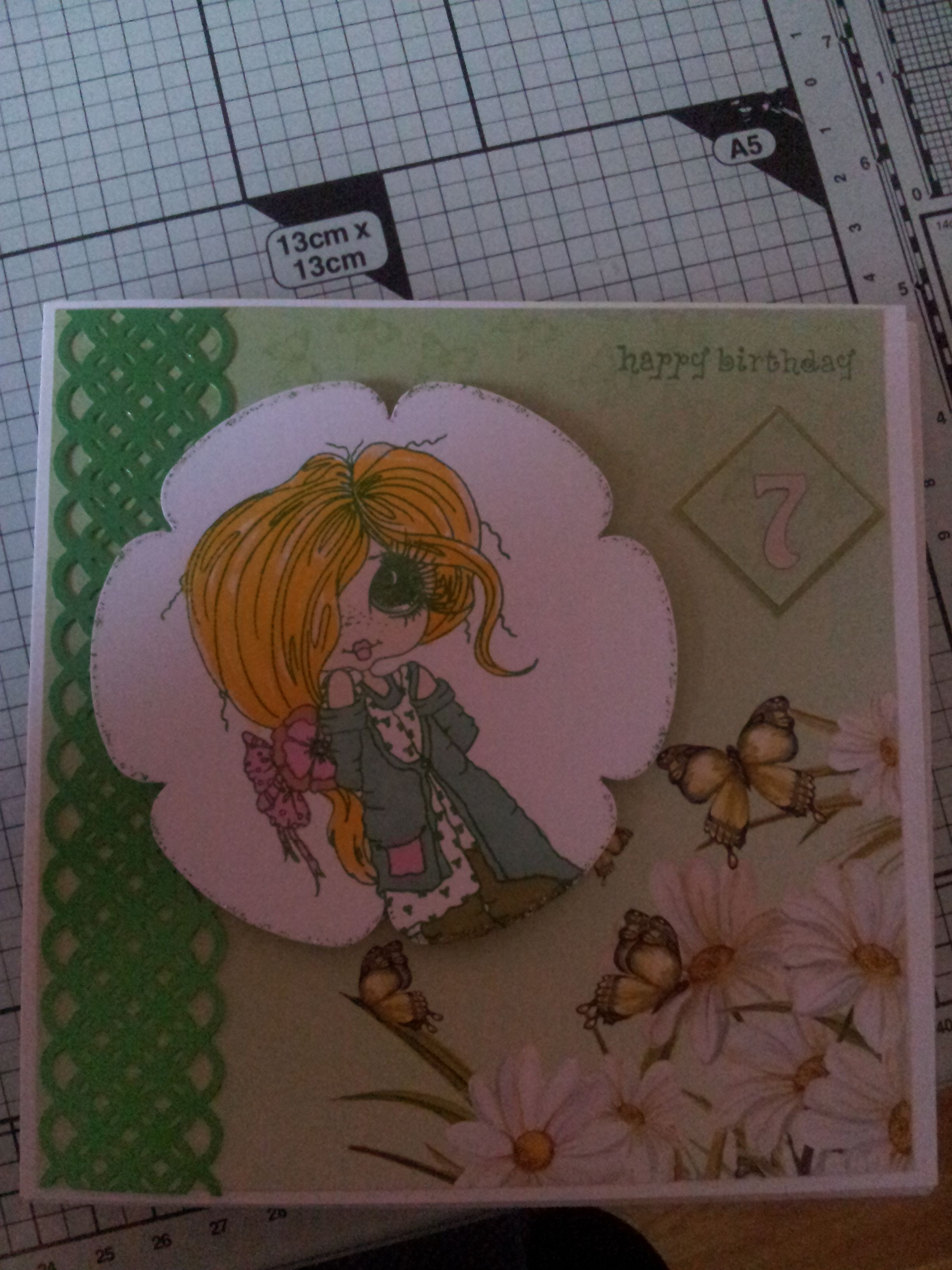 Little Girl 7th Birthday Card (With images) Cards, 7th