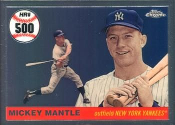2008 Topps Chrome Mickey Mantle Home Run History Mhrc500 Mickey Mantle Front Mickey Mantle Homerun Mantle
