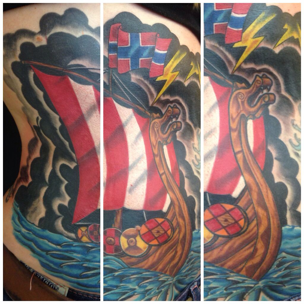 Ink Junkies Arvada Co Fix Up Cover Viking Ship Art