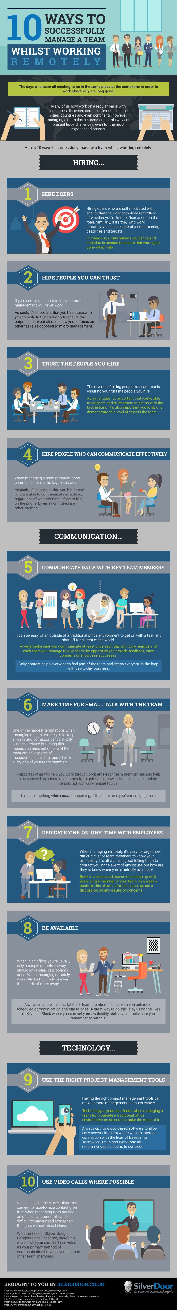 10 Ways To Successfully Manage A Team Whilst Working Remotely #infographic