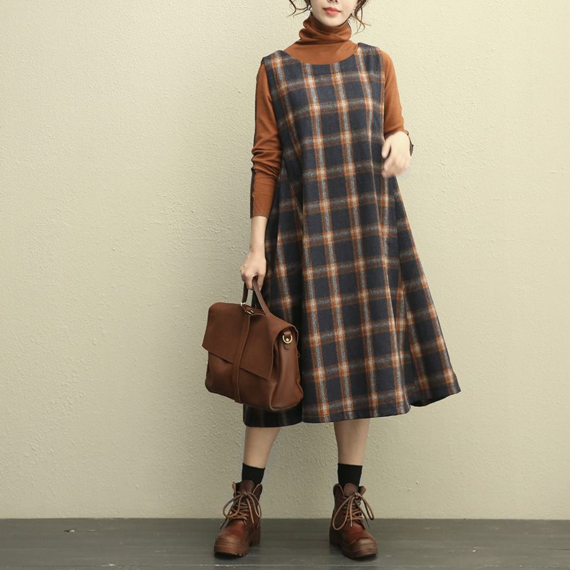 e24c1dc6d5d Ladylike Plus Size Woolen Sundress Plaid Jumper Dress  plaid  grid  plussize    dress  sundress  jumperdress  winter  fashion  woolen  maternity