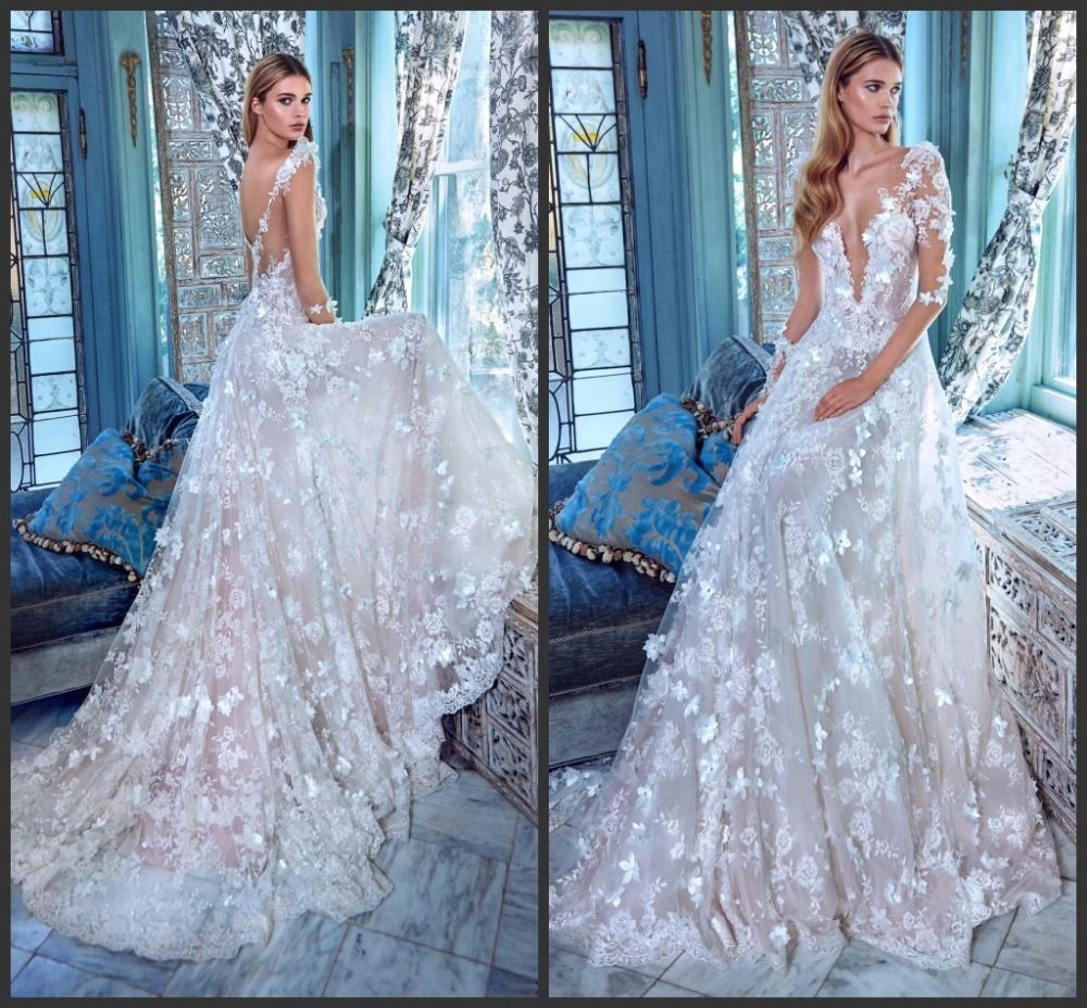 Lace Wedding Dresses White Ivory A-Line 3/4 Sleeves Deep V-neckline ...