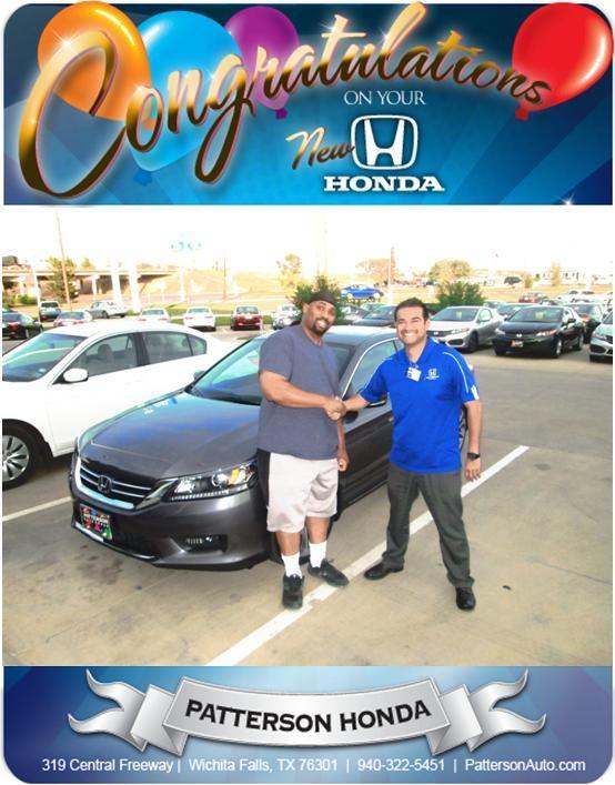 Congratulations to Donald Jeter on his new 2014 Honda Accord Sport! - From Joey Lara at Patterson Honda