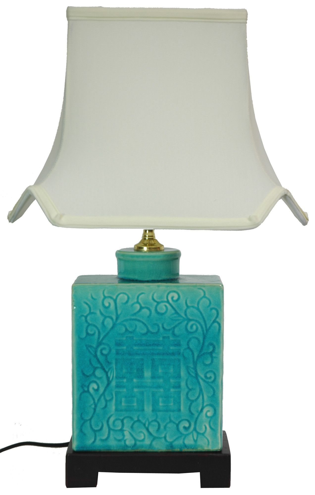 "20.5"" H Table Lamp with Bell Shade Бирюзовая лампа"