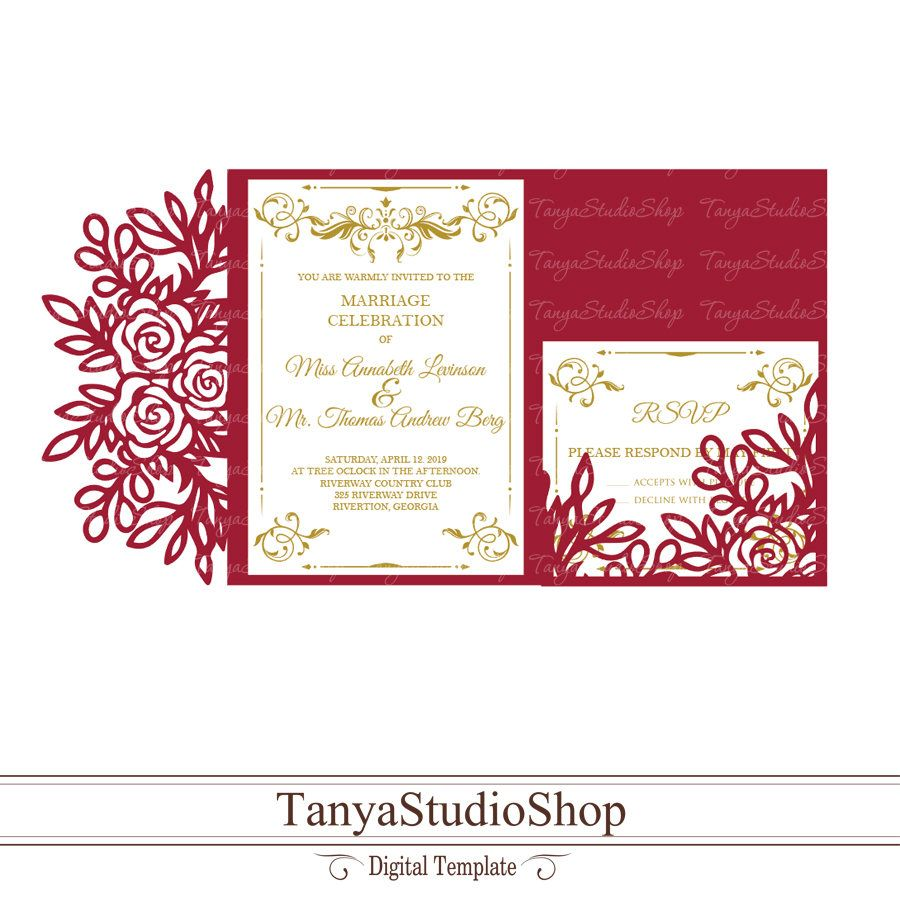 Wedding invitation + RSVP templates - SVG, ai, CRD, eps - Laser ...