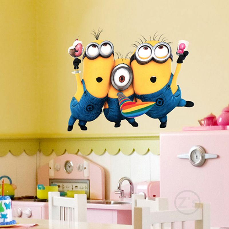 Minioms Wall Sticker Home Decor Cartoon Wall Decal diy for Kids Room ...
