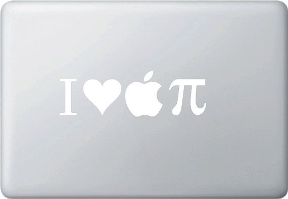Mb I Heart Apple Pi Vinyl Decal For Macbooks And More White