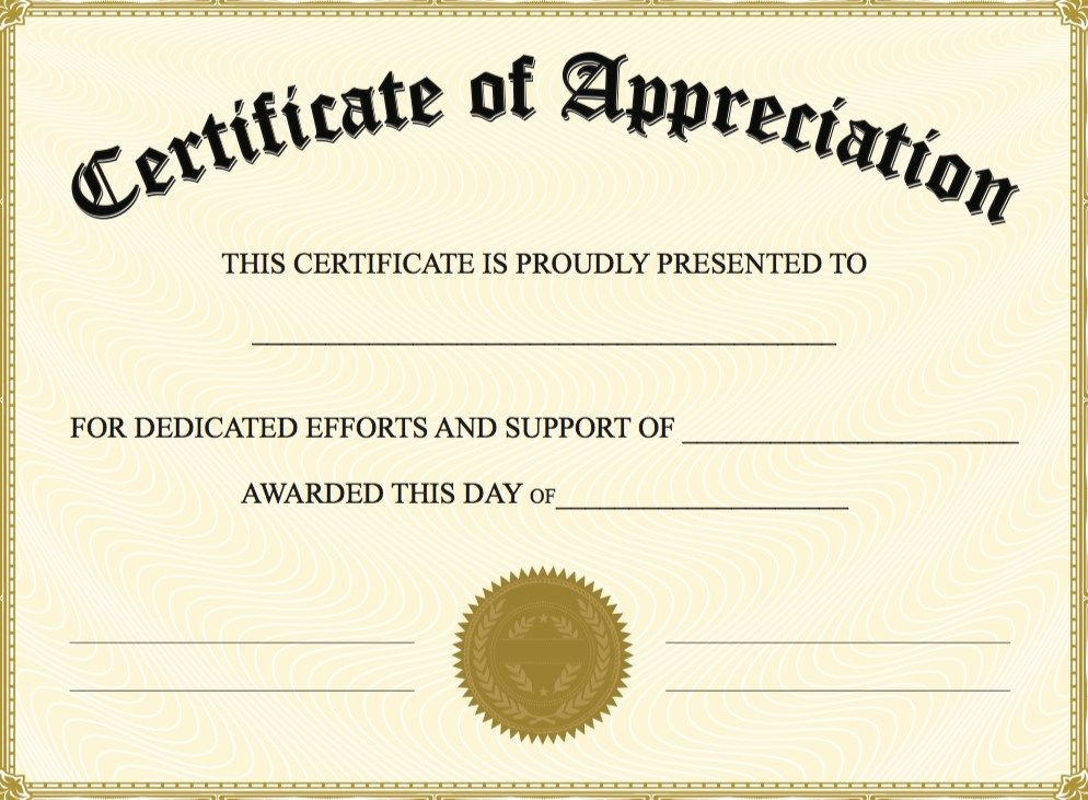 Certificate Of Appreciation Template - The certificate has a large