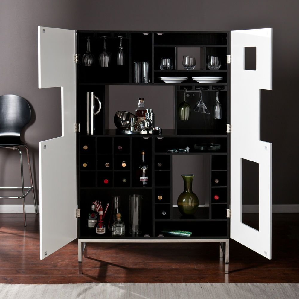 Mwc23001 black and white wine bar cabinet | Wine bar cabinet and ...