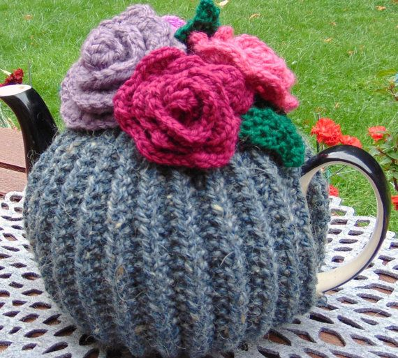 Hand Knitted  Grey Flower Tea Cosy by LittleDaisyKnits on Etsy