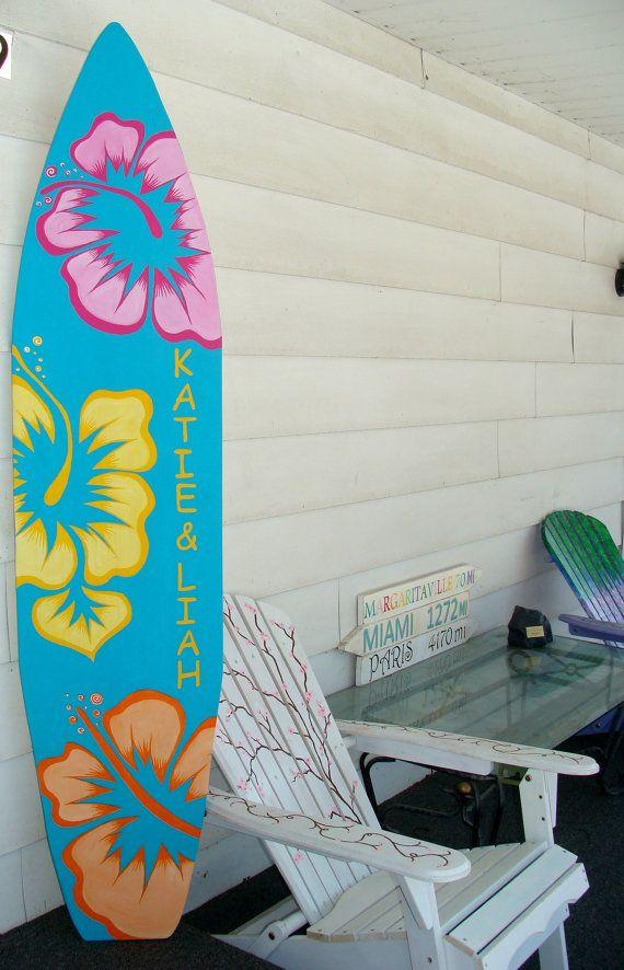 6 Foot Wood Hawaiian Surfboard Wall Art By HopelessRomanticShop, $134.99