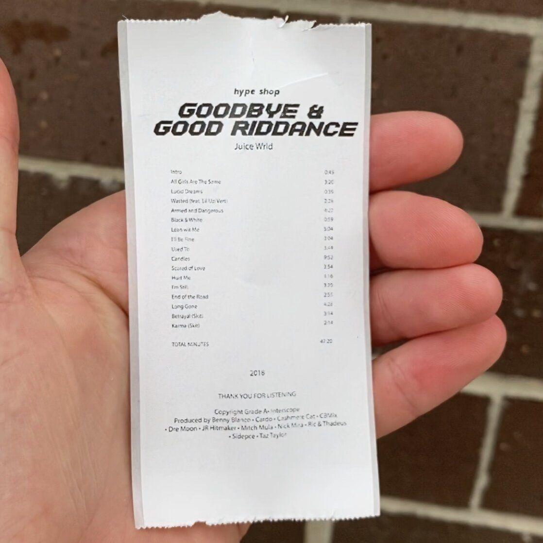 Juice Wrld Goodbye And Good Riddance Album Receipt Sticker Hype Shop Hype Shop Blonde Album Receipt Template