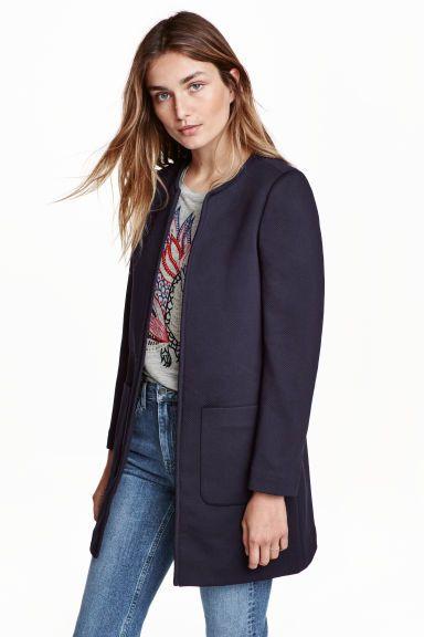 Structuurgeweven jas - Donkerblauw - | H&M BE