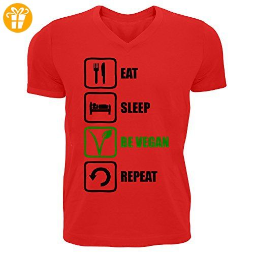 Eat Sleep Be Vegan Repeat Funny Black And Green Graphic Men's V-Neck T-shirt XX-Large (*Partner-Link)
