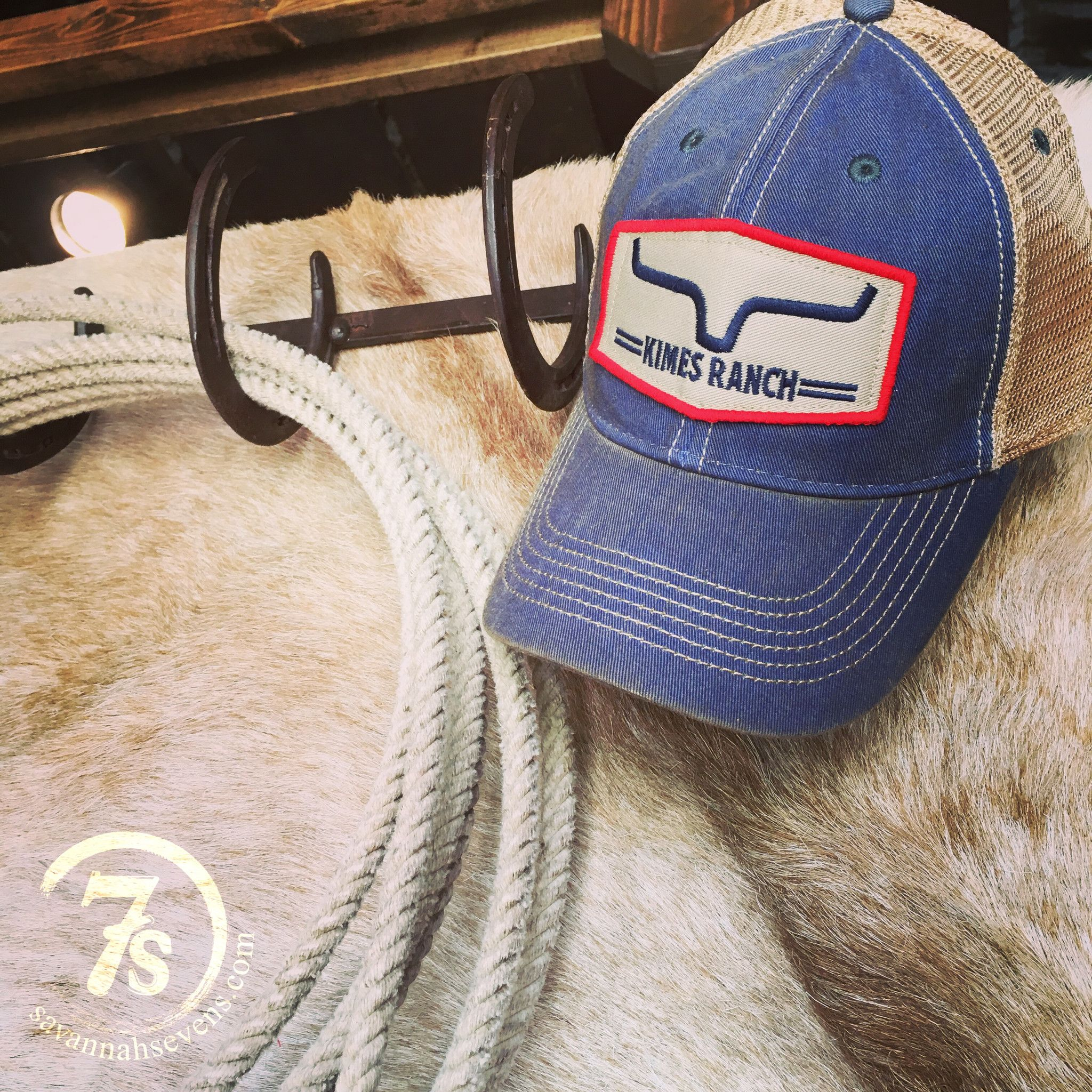 Kimes Ranch cap - Red embroidered trim patch - Navy horns and