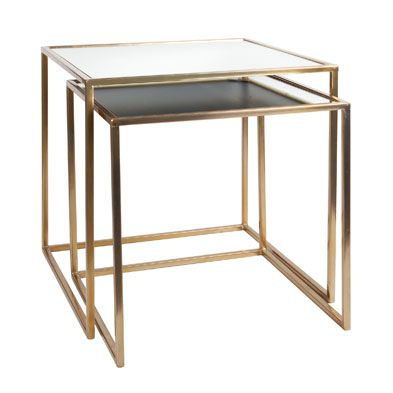 Gold Trim Mirrored Square Side Tables Living Room Occasional